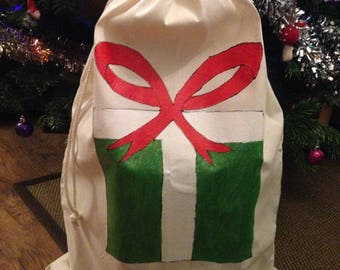 HandPainted Natural Cotton Drawstring Green White Red Present Santa Sack Present Bag Toy Bag Extra Large 75x50cm