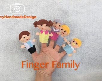 Famille famille heureuse de la marionnette/fait main doigt feutre doigt marionnettes/bricolage/Daddy doigt/maman doigt/histoire/temps du cercle/marionnettes ensemble/sur mesure