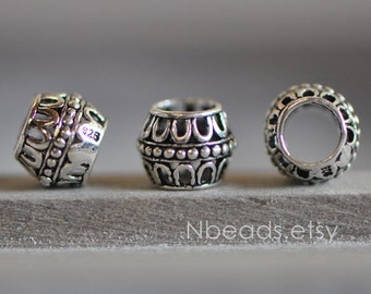 10pcs Bali 925 Sterling Silver Spacer Beads 8mm,  Handmade Oxidized Large Hole Beads (S010-1)