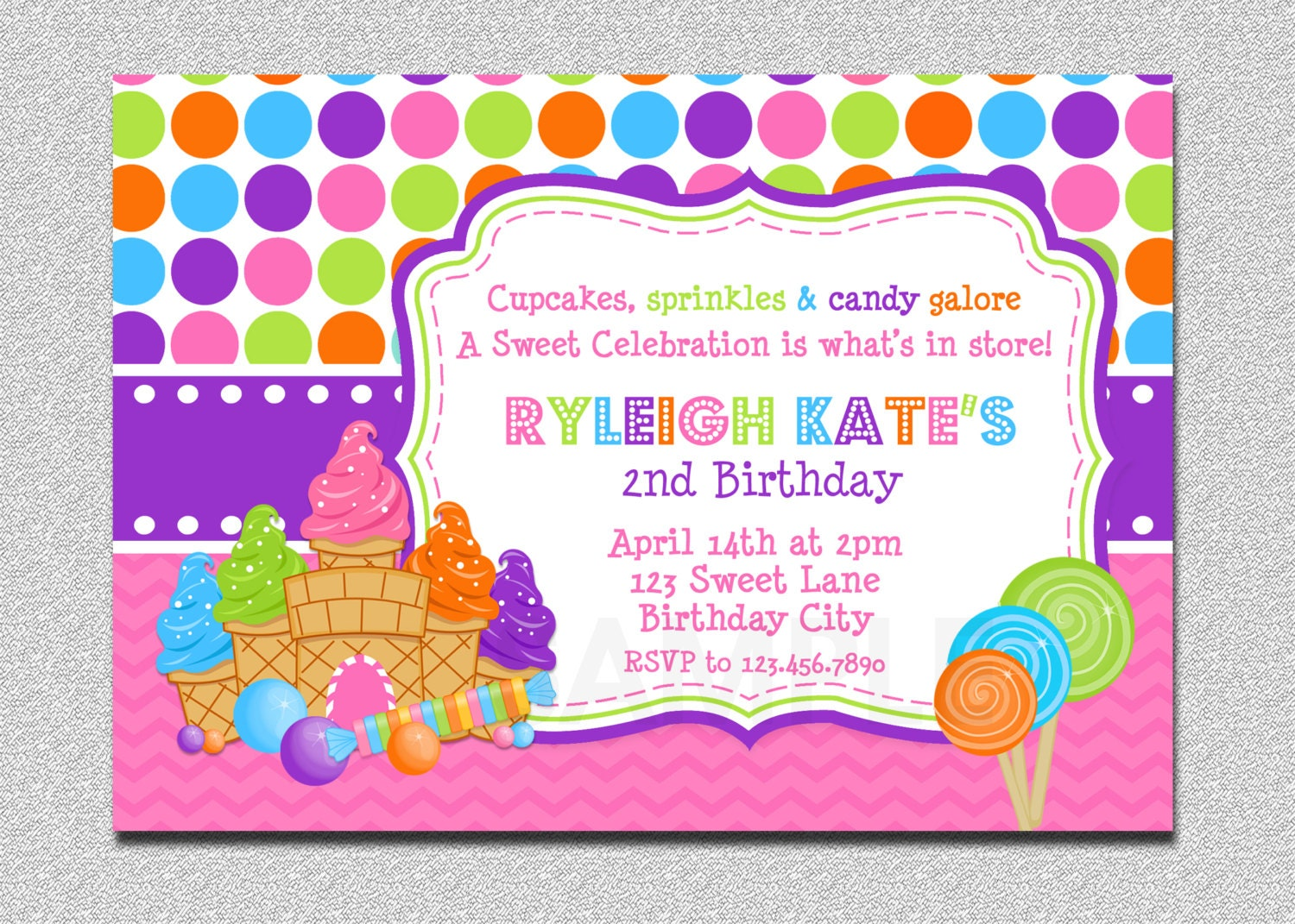 Candy land Birthday Invitation Sweet Shoppe Candy land