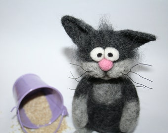 Cat. Needle Felted Cat. Grey Cat. Fanny Kitten. Soft Sculpture. Big Eyes. Fluffy. Felted Animal. Pink Nose. Made to order.