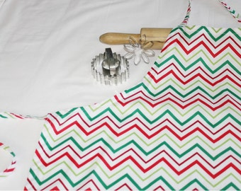 Red and Green Chevron Adult Apron