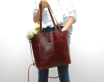 Leather tote bag ,large size,dark cabernet color