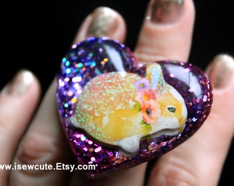 Statement Ring, Huge Resin Ring, Purple Heart Ring, Adjustable Ring, Resin Heart Ring, Bunny Lover Gift for Her, Rabbit Ring, EtsyRabbits