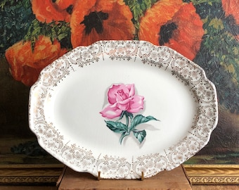 Pink Rose Plate 22k Gold Small Oval Platter Tray Vintage White Ceramic Distressed Crazing Scalloped Edge