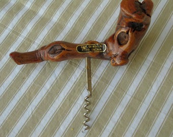 French vintage vine wood and metal cork screw.