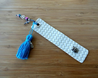 Leather Bookmark with Ladybug, Tassel and Beads