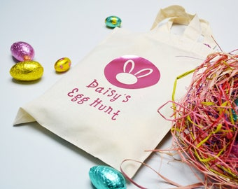 Personalised Easter Egg Hunt Bag, Easter Gift, Easter Basket, Personalised Tote, Easter Eggs, Gift for Kids, Easter Bunny, Personalised Gift