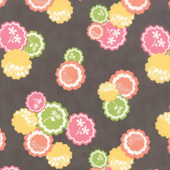 Corey Yoder Little Miss Shabby Dark Grey Prairie Doily Flower Quilt Fabric. Flowers Are Pink, Mauve, Green, Yellow and Peach. 29001-13