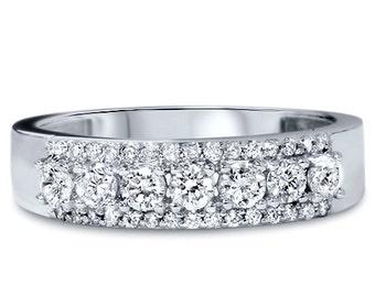3/4CT Diamond Ring 14K White Gold Size 4-9