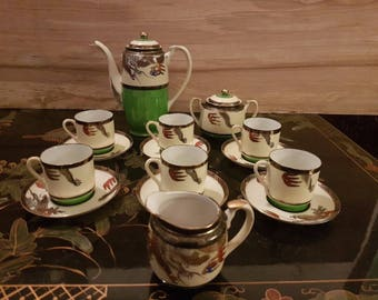 Japanese Hand Painted Dragon Coffee Set