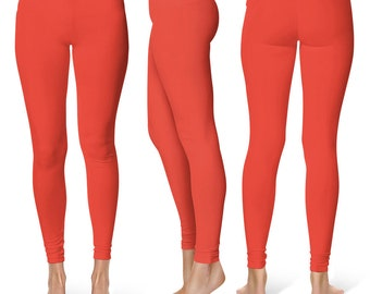 Vermilion Leggings, Stretchy Yoga Pants, Workout Clothes for Women