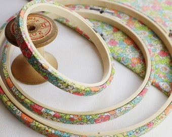 Bright Spring Coloured Embroidery Hoops.  Floral,  Liberty of London, Fabric Covered Embroidery Hoop. Coloured Embroidery hoop. Tana Lawn,