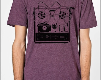 Reel to Reel Graphic Tee Men's T Shirt  American Apparel XS, S, M, L, XL 9 COLORS Inr2