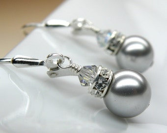 Classic Silver Pearl Earrings, Gray Bridesmaid Wedding Jewelry, Handmade Grey Swarovski Crystal Drop, Sterling Silver Bridal Party Gift Idea