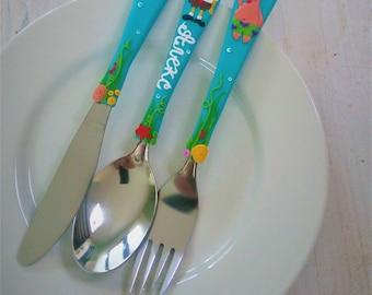 Sponge Bob, Personalized Cutlery, Name Fork Spoon Knife, Kids Gift, Personalized Gift, Baby Name Spoon, Baby Shower, Kids Cutlery, Flatware