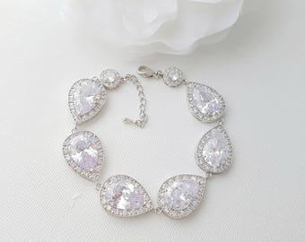 Crystal Bridal Bracelet, Rose Gold Bracelet, Wedding Jewelry, Gold, CZ Bracelet, Crystal Wedding Bracelet, Bridal Jewelry, Evelyn