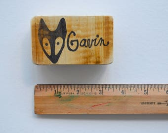 Fox Head Personalized Hand-carved Rubber Stamp Mounted on Reclaimed Wood