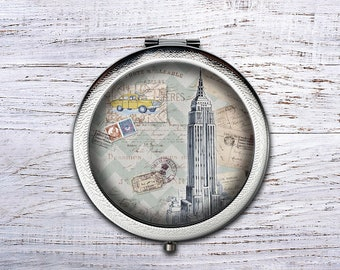 Empire State Building, Compact Mirror, Bridesmaid Gifts Cosmetic Mirror Personalized Gifts for Mom, Birthdays, Ladies, Girls, Women