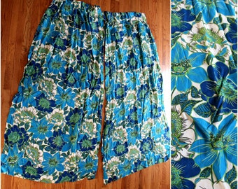 Vintage 60s Long Flower Power Curtains. Psychedelic Blue Floral Long Curtain Panels. Mid Century Mod Curtains For Drapery Hooks. 60s Decor