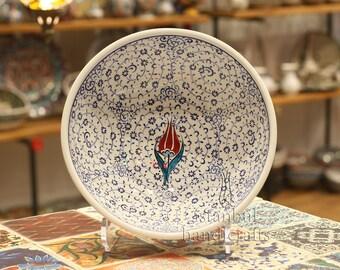 Iznik Design Handmade Ceramic Bowl - Diameter : 20cm/8''