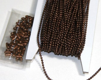 100 ft of antique copper chain 1.5mm ball chain with connector, bulk ball chain, bulk beaded chain