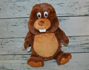 SALE Personalized Woodland Beaver  Plush Cubbie, Monogram Stuffed Animal Birth Stats, Monogrammed Baptisim Gift, Personalized Plush Toy