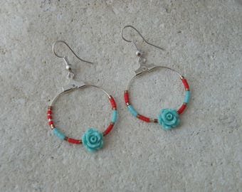 Creole earrings resin turquoise flower