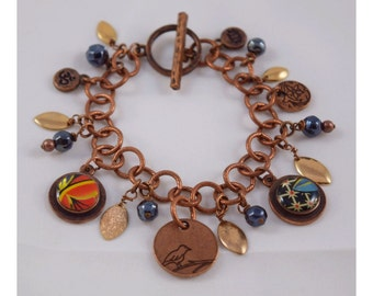 Upcycled Vintage English Tea Tin Copper-toned Charm Bracelet