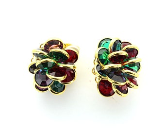 Swarovski channel cluster earrings with clip fitting.  Price is for 1 pair