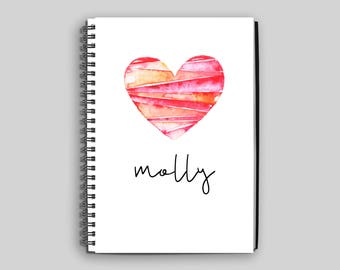 Custom Notebook ~ Personalized Journal ~ Custom Diary ~ Heart Notebook ~ Children's Notebook ~ Personalized Gift ~ Diary