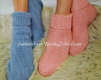 Vintage Knitted BedSocks BedSox bed sock sox Pattern Patterns PDF 685 from WonkyZebra