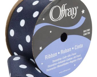 "Polka Dot Grosgrain Ribbon | Affray | Black Polka Dot | 1.5"" Width"
