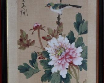 Vintage silk painting