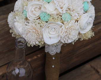Cream and Mint bouquet, sola, bouquet, wedding bouquet, rustic wedding, bridal bouquet, woodland wedding,  keepsake bouquet, sola flowers