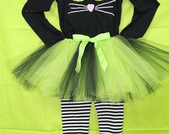 Girls Black Cat Halloween costume,Lime green Halloween Tutu, Halloween Black and White leggings,Black cat shirt,3 piece outfit for Halloween