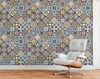 Moroccan Tiles Wallpaper Murals - Living Room Wallpaper