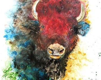 Buffalo head: bison print totem buffalo print buffalo art bison art nursery wall art nursery art cabin art bison spirit animal