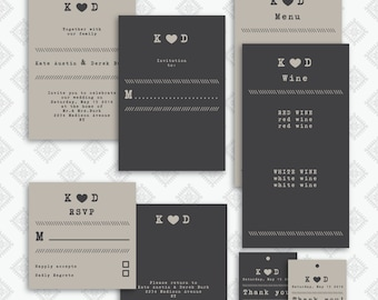 Wedding invitation / RSVP / tag /menu template