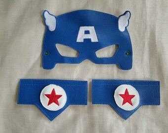 Kids Mask, Vinyl Mask & Wristlet Set, Kids Play Mask Set, Mask for Kids, American Hero Mask, Superhero Mask,Ready to Ship