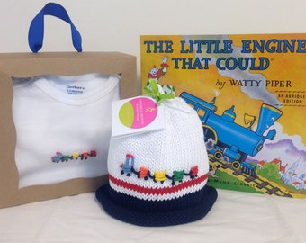 Train Onesie + Baby Hat ~ Hand Embroidered & Hand Knitted, Best Baby Boy Gift, Cotton