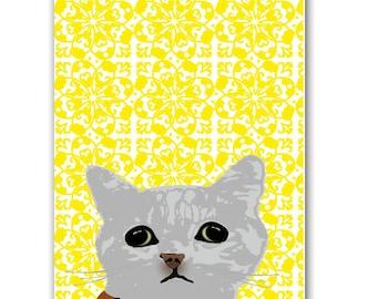 Cat peeping   - fine art print, cat, grey tabby cat, cat print