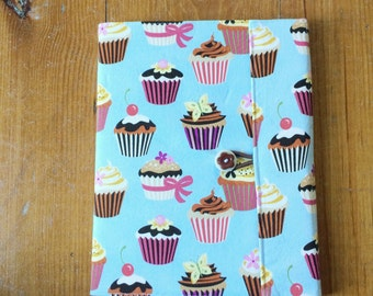 Cupcake Reusable Fabric Covered Composition Book Cover - with pen and composition book - fabric covered notebook, journal