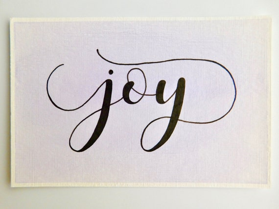 Joy watercolor and calligraphy art word of the year art