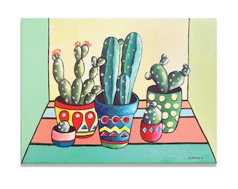 Cactus Decor, Cactus Painting Home Decor, Cacti Painting Wall Art, Cactus Art Kitchen Decor