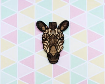 Wooden Zebra Pin