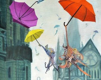 "Large (~15x23"") Limited Edition Giclee Print of ""Even on a Dreary Day"" Whimical Octopuses flying with Umbrellas throught the sky"