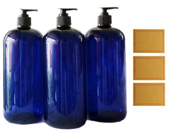 32oz Plastic Bottles Cobalt PET Round Bottles w/ Black Lotion Pumps Available in 1, 3 + Kraft Labels