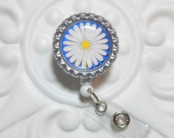 Daisy Badge Reel - Nurse Badge Reel - Flower Retractable Badge Holder - Badge Lanyard - Flower Id Badge Reel - Name Badge Holder
