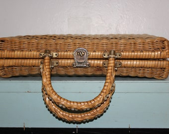 Vintage Woven Wicker Handbag - Made in Hong Kong Briefcase Attache Case - Blonde Color - Home Decor Storage - Asian Mad MEn